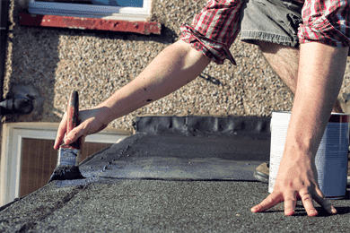 roof paint and brush for roof maintenance